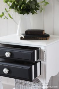 Oak night table makeover from confessionsofaserialdiyer.com