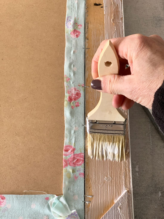 Apply Mod Podge with a cheap chip brush.