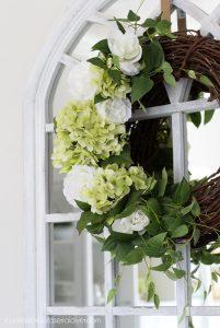 DIY Spring Wreath with hydrangeas