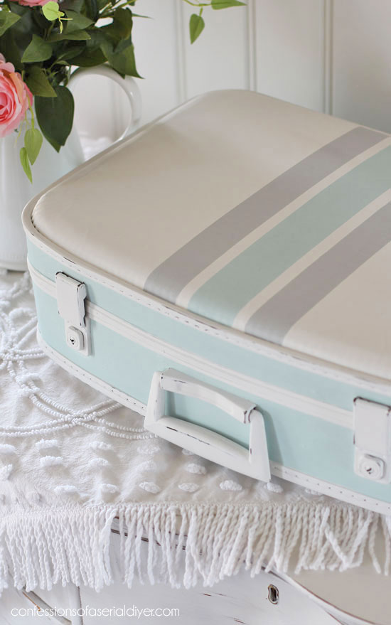 $4 Vintage Suitcase gets a makeover from confessionsofaserialdiyer.com