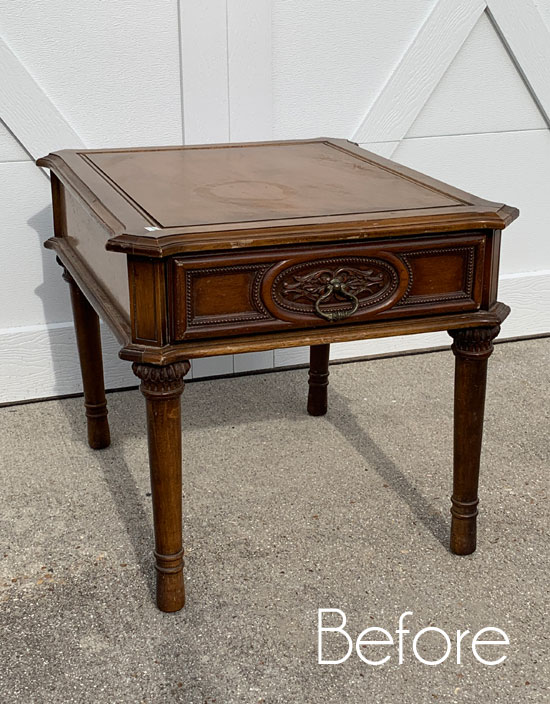 $6 Thrift Store End Table (& a Video on How to Line a Drawer with Fabric)