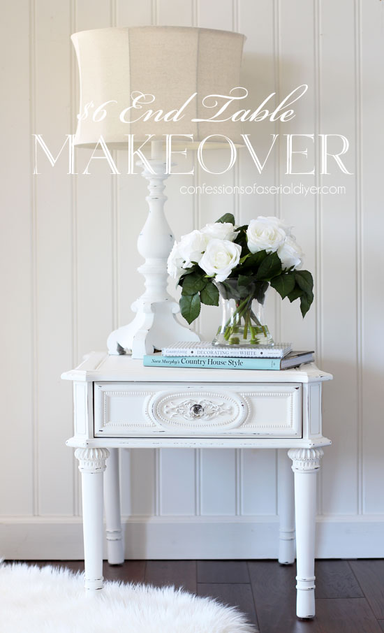 White chalk painted end table with beautiful details.