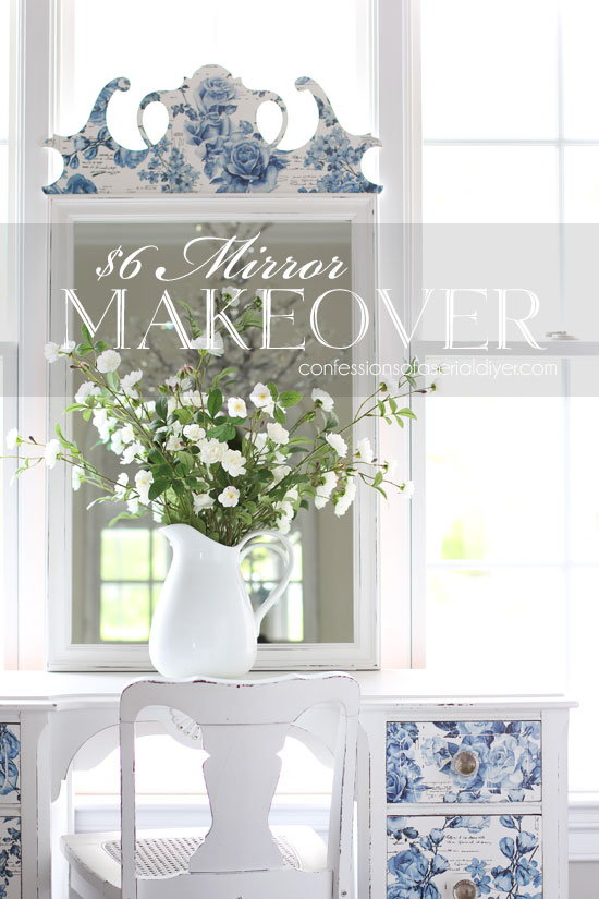 Mirror makeover using Prima Marketing Redesign transfers.