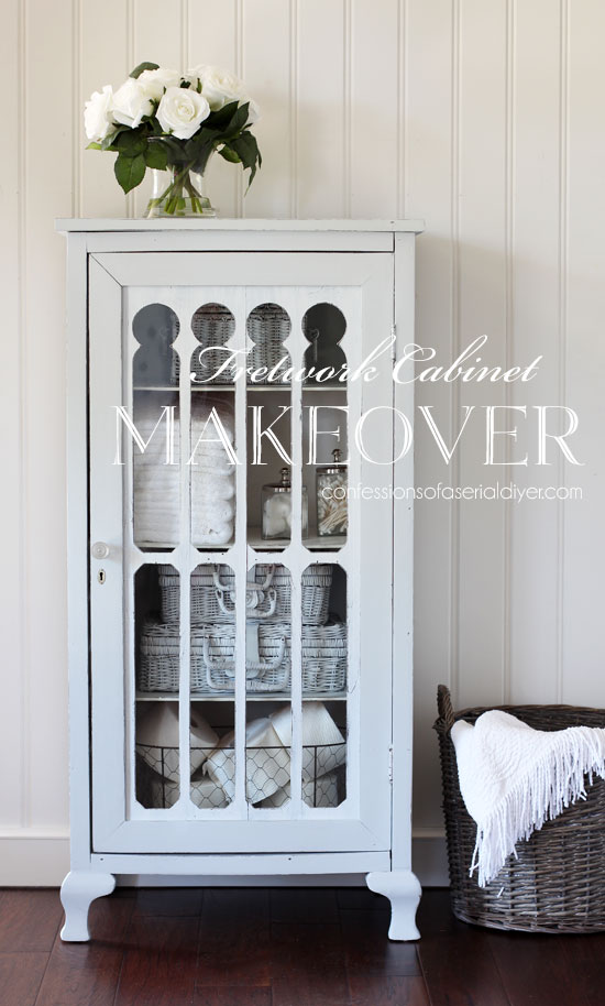 fretwork cabinet makeover from confessionsofaserialdiyer.com