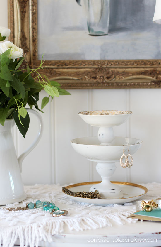 Candlesticks and thrift store dishes create perfect jewelry storage!