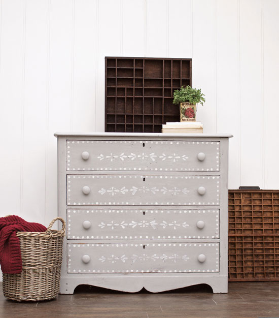 Stenciled dresser from Girl in the Garage, Amazing Furniture Makeovers
