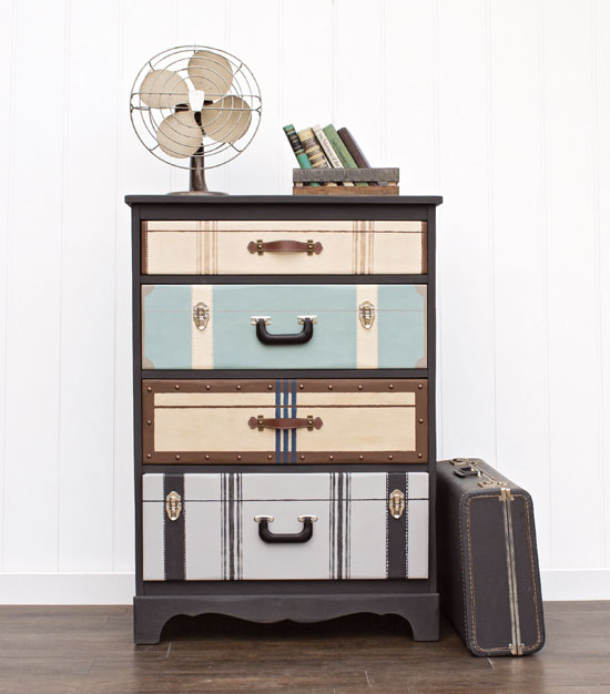 Dresser made to look like suitcases from Girl in the Garage, Amazing Furniture Makeovers
