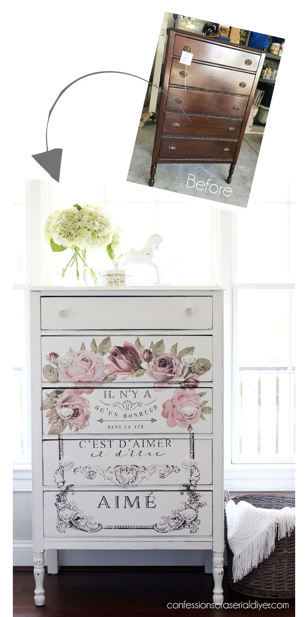 The beautiful shabby chic look on this dresser was achieved by using the Dans la Vie transfer from re-design with prima!