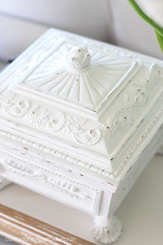 Ornate thrift store boxes painted.