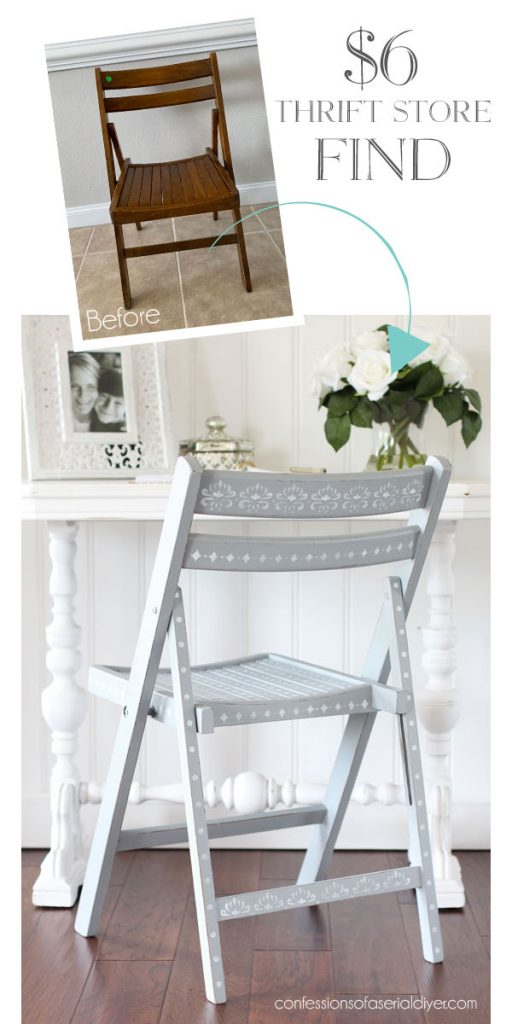 Stenciled wooden folding chair from confessionsofaserialdiyer.com