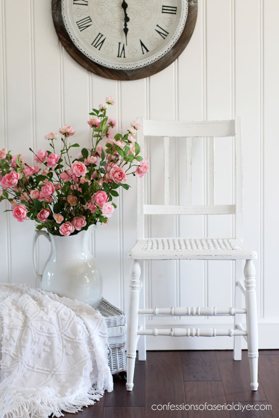 White painted cane chair