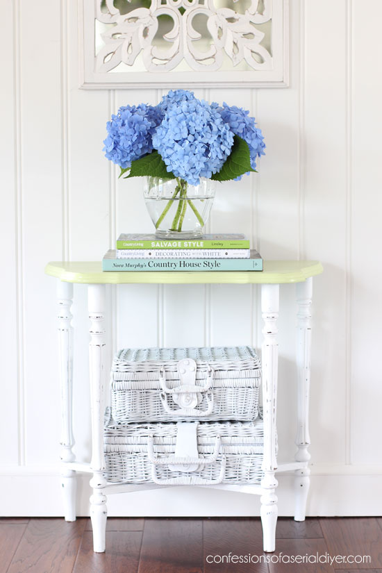 Antique Side table painted in Dixie Belle's Cotton and Farmhouse Green