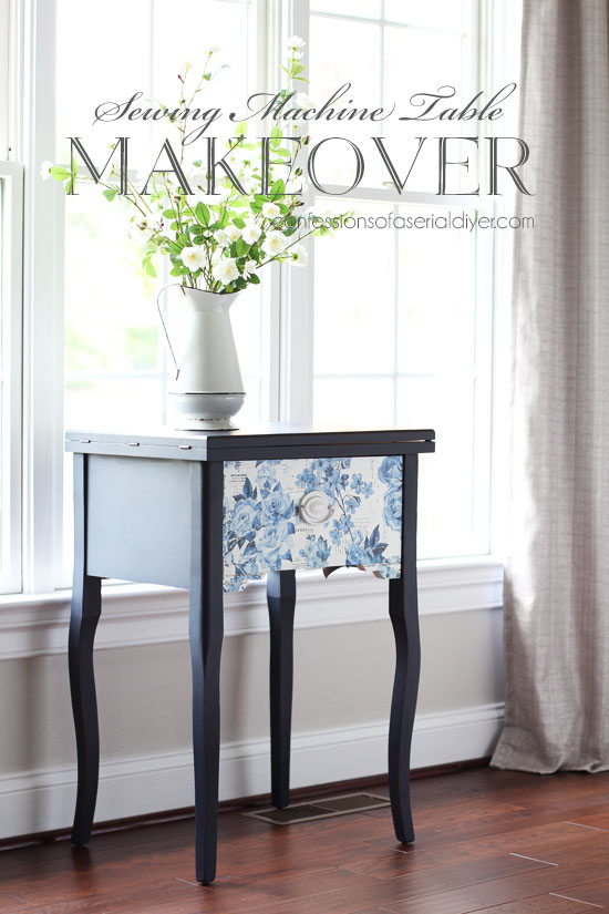 Painted sewing machine table in Dixie Belle's In the Navy from confessionsofaserialdiyer.com