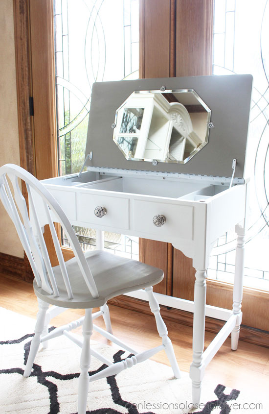 French Linen and White Dressing Table