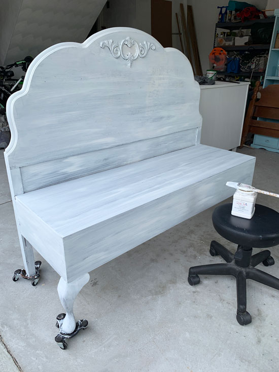 How to make a bench from a headboard from confessionsofaserialdiyer.com