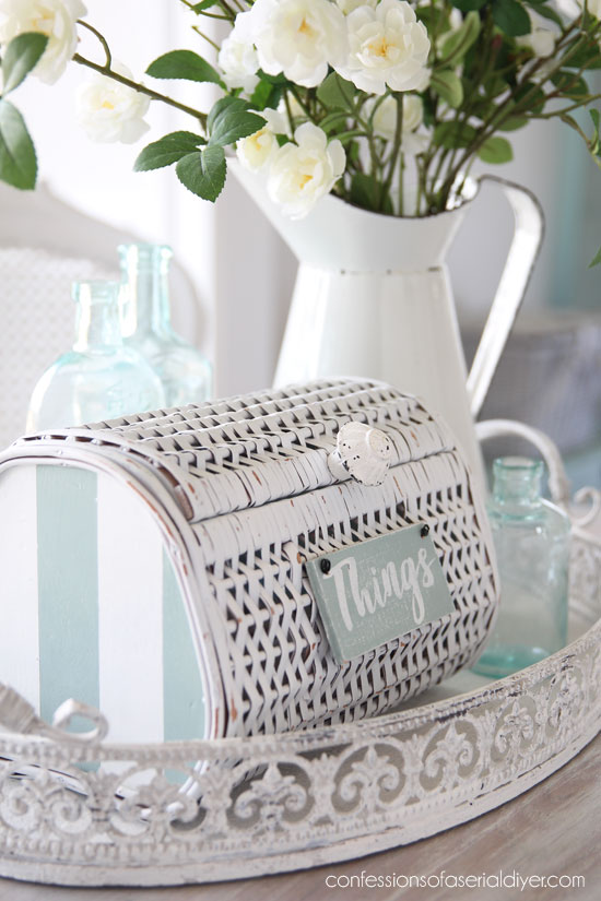 $3 Thrift Store basket gets a coastal makeover from confessionsofaserialdiyer.com