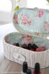 Yard sale basket makeover with paint and fabric from confessionsofaserialdiyer.com