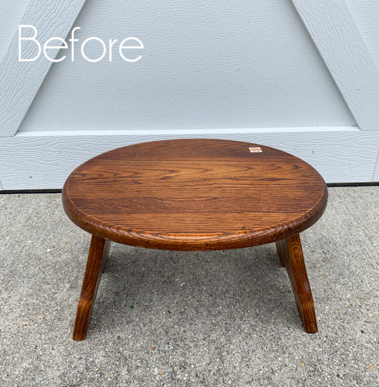 Thrift Store Stool Makeover and How to Whitewash Furniture