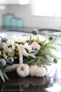 Fall arrangement using a thrift store basket.