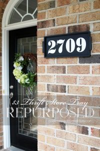 Turn a small tray into a house number sign!