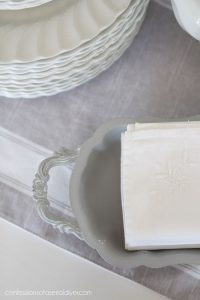 Silver thrift store tray painted with Dixie Belle paint
