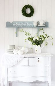 Stenciled thrift store shelf from confessionsofaserialdiyer.com