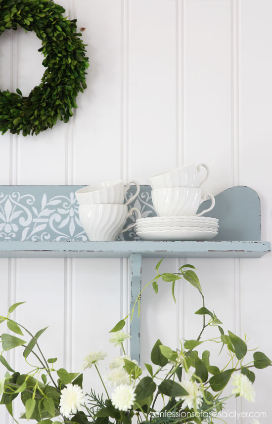 Sweet cottage-inspired shelf painted in Savannah Mist by Dixie Belle.