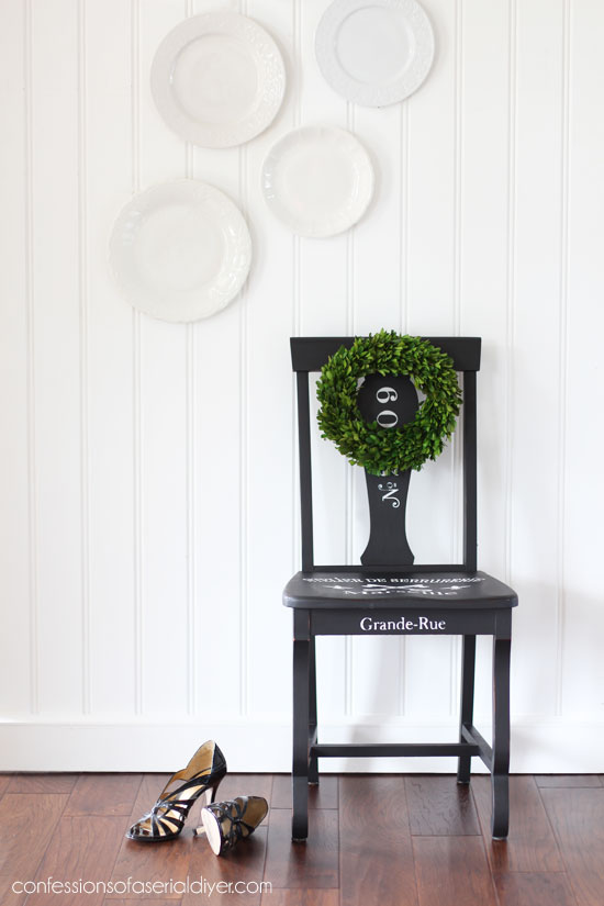 $10 Yard Sale Chair Painted in Dixie Belle's Caviar