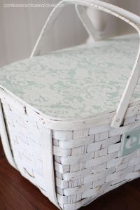 Use a lace curtain to add a pretty pattern to a project.