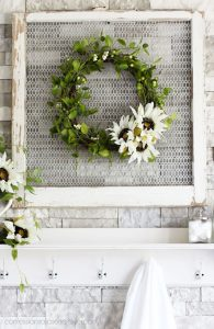 Sweet and simple sunflower and greenery wreath for fall