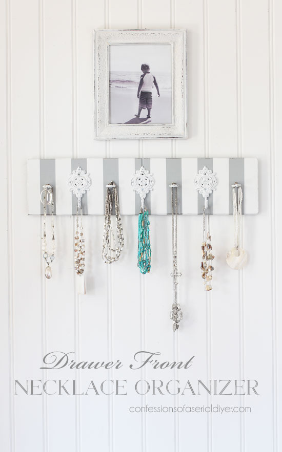 Necklace organizer made from an old drawer front from confessionsofaserialdiyer.com
