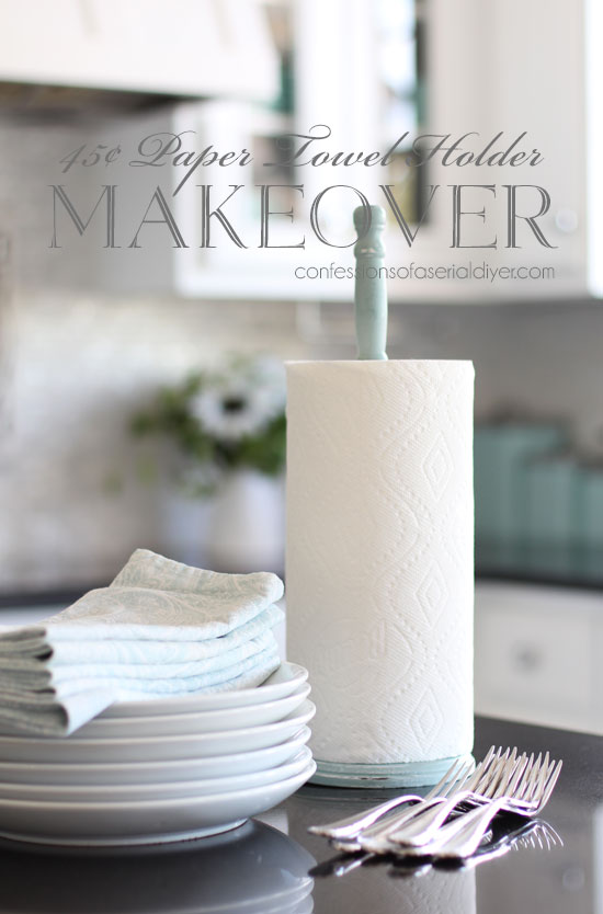 Thrift store paper towel holder makeover