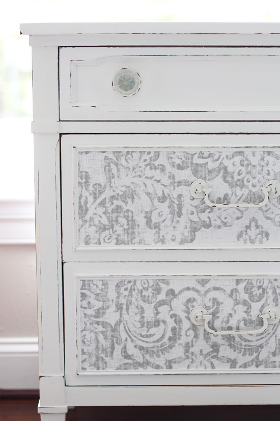How to add fabric to dresser drawers