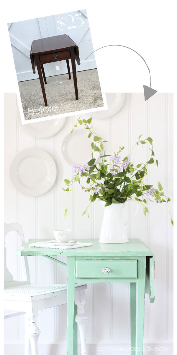 Side Table painted in Dixie Belle's Mint julep