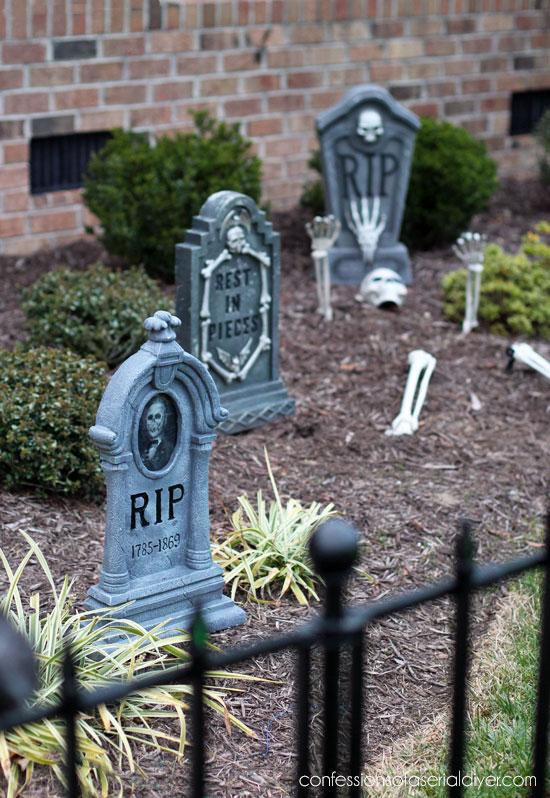 halloween tombstones in the cemetery