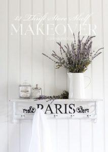 $2 Thrift Store Shelf with Paris Stencil