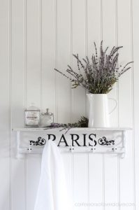 Thrift Store Shelf painted in Dixie Belle Cotton and stenciled with a PARIS stencil