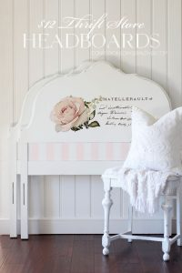 Twin headboard painted white with a floral transfer.