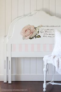 Twin headboard painted in cotton and pink champagne with a prima transfer