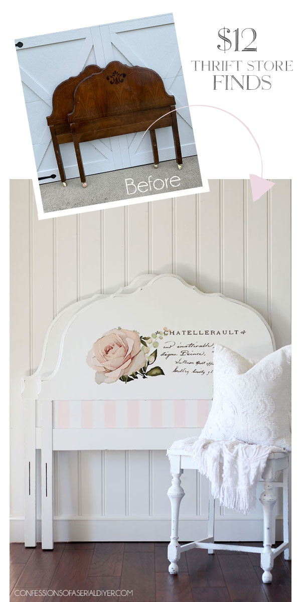 Twin headboard makeovers using Prima Transfer Chatellerault