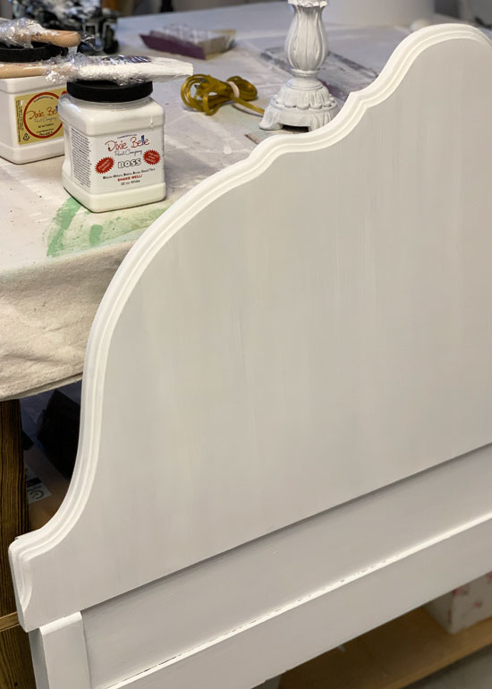 BOSS by Dixie Belle used to prevent bleed-through on a white painted headboard