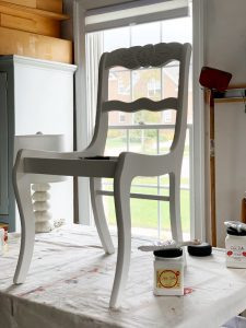 chair painted in Dixie Belle fluff