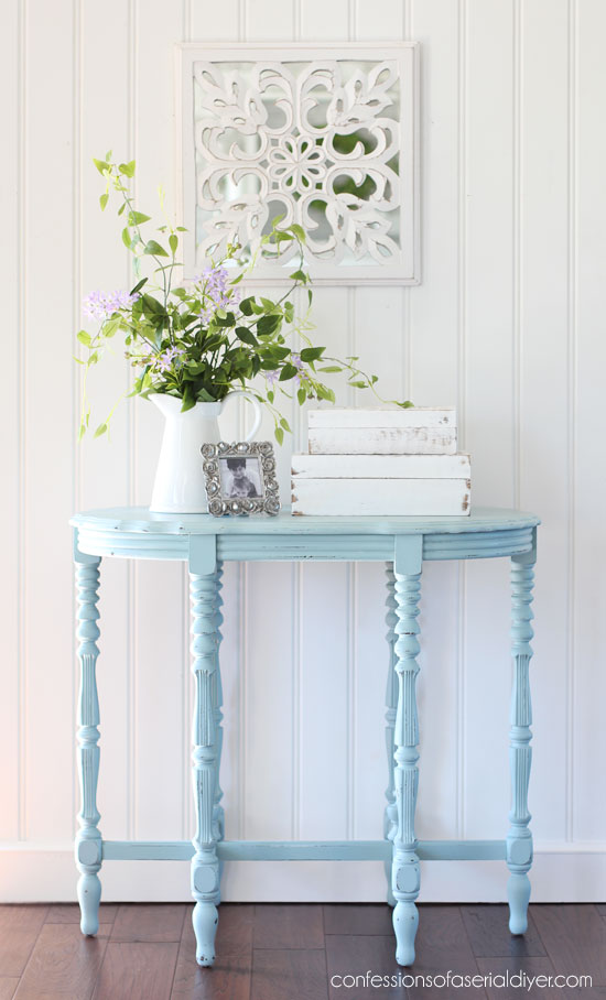 Ornate side Table painted in Vintage Duck Egg Blue by Dixie Belle mixed with about 1/3 Cotton.