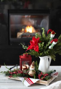 Christmas coffee table arrangement