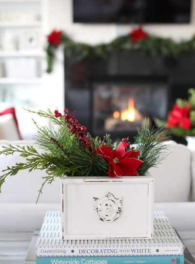 Christmas arrangement made in an old drawer.
