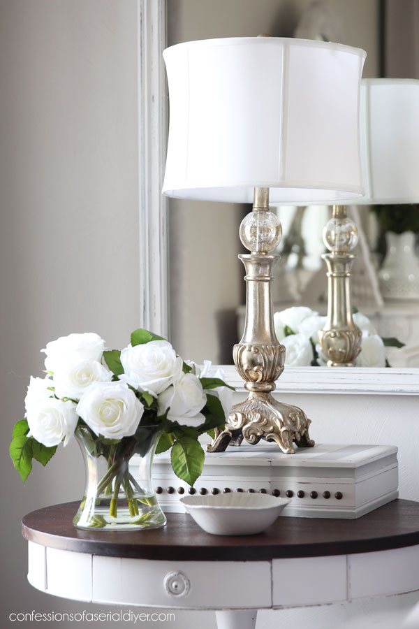 Use a flatware box to add height to a lamp