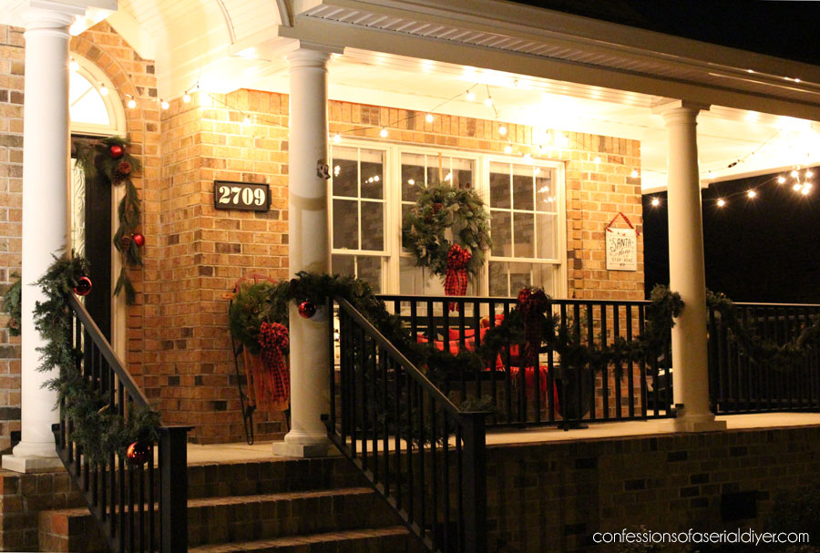 Outdoor Christmas decorations for a porch