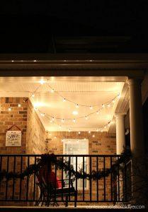 Party porch lights as Christmas decor