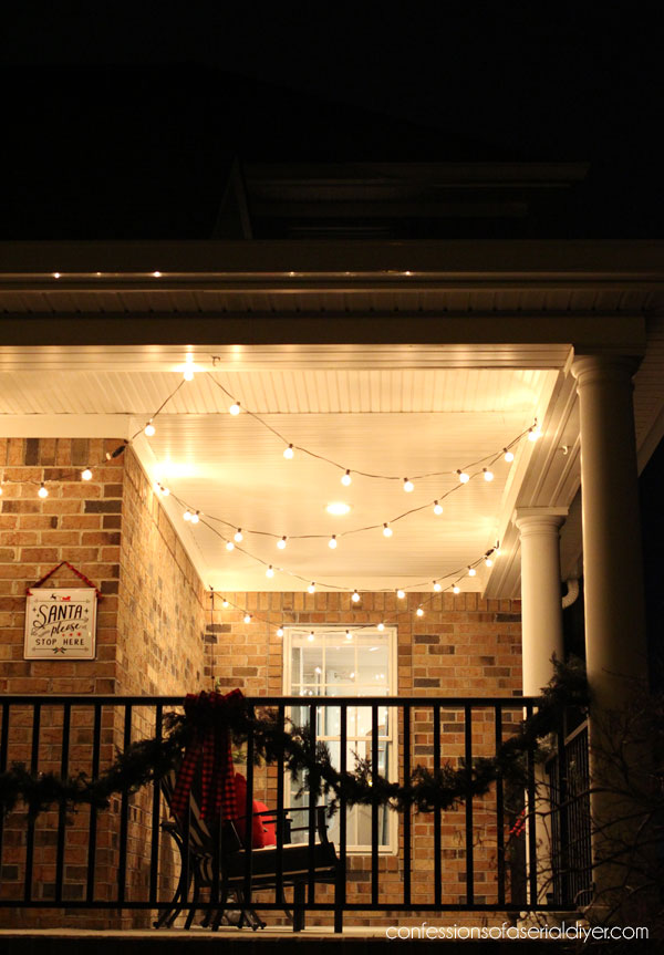 Party porch lights as Christmas decor