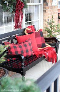 Front Porch Christmas decor buffalo check